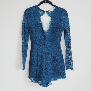 Lovers + Friends lace eve romper in teal xs